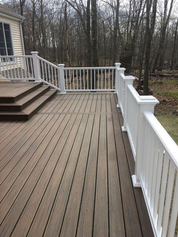 Side view of a deck construction in Ridgefield, CT
