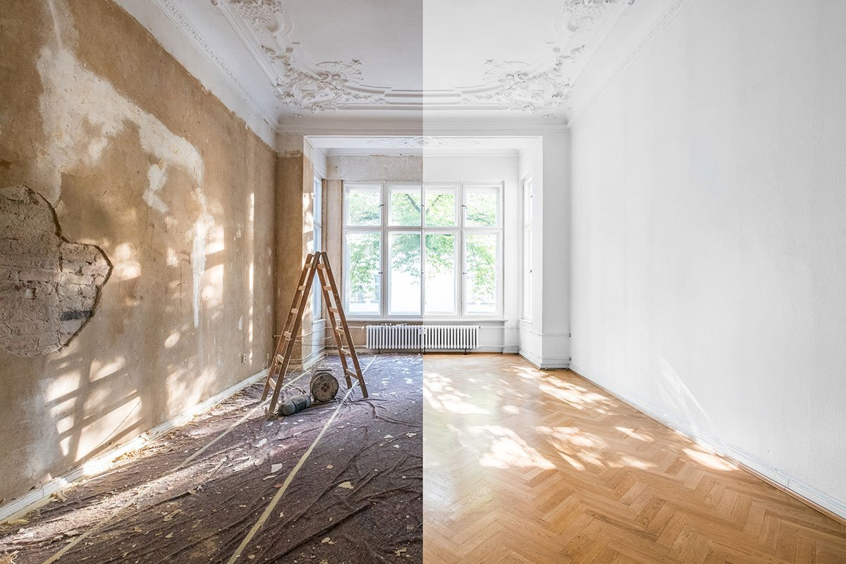 Before and After shot of a historic home being renovated